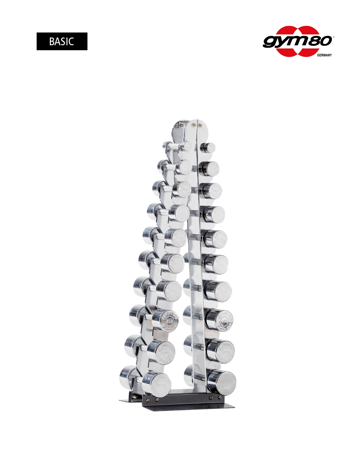 CHROME DUMBBELLS SET FROM 1-10 KG IN PAIRS, INCLINE DUMBBELL RACK